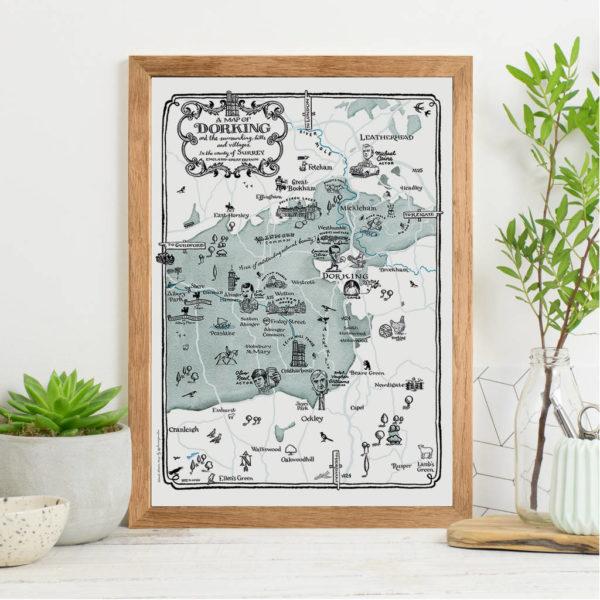 Map Of Dorking Print - Oak frame