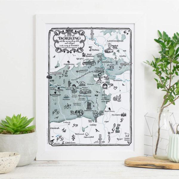 Map Of Dorking Print - White frame