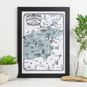 Map Of Dorking Print - Black frame