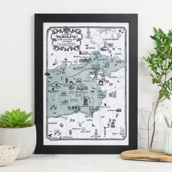 Map Of Dorking Print - Black frame