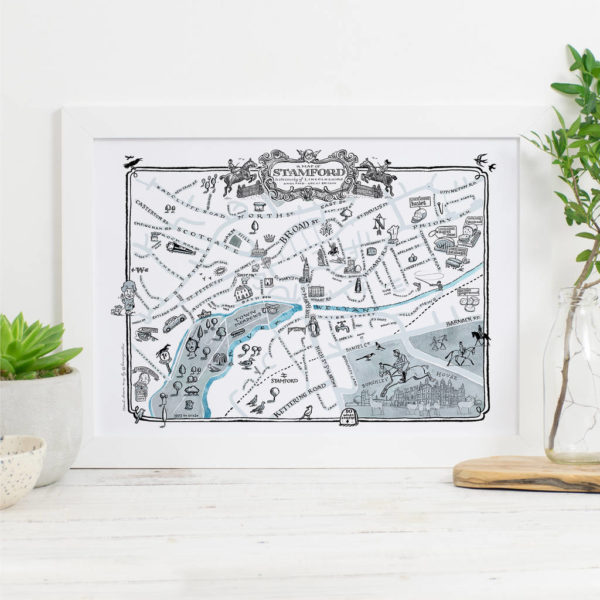 Map Of Stamford Signed Print - White frame