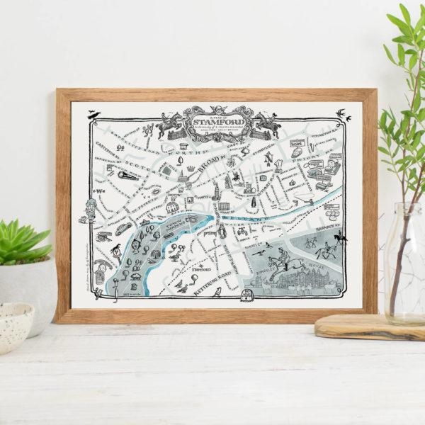 Map Of Stamford Signed Print - Oak frame