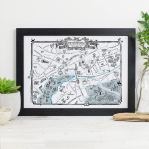 Map Of Stamford Signed Print - Black frame