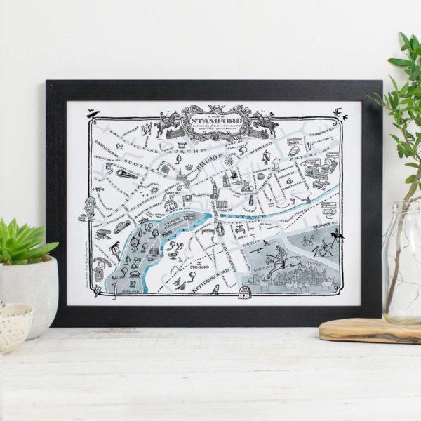 Map Of Stamford Signed Print - Black frame