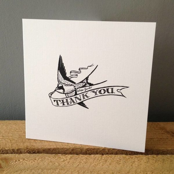 'Thank You' Swallow Design Greetings Card