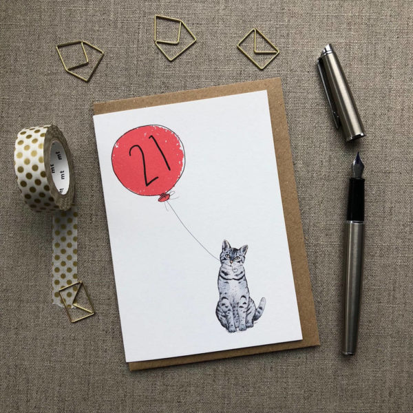 21st Birthday Card Cat