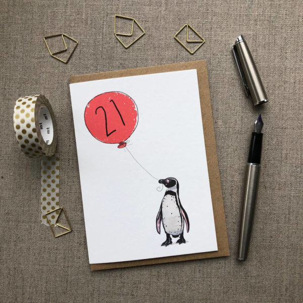 21st Birthday Card Penguin
