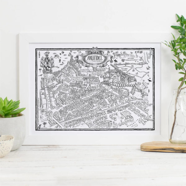 Map Of Arundel Print - White frame