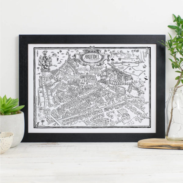 Map Of Arundel Print - Black frame