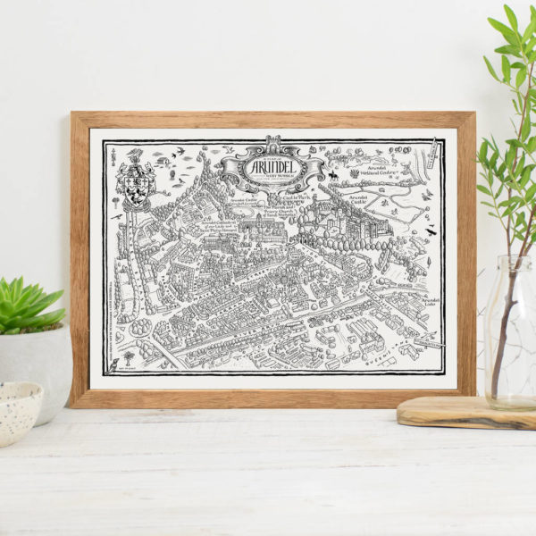 Map Of Arundel Print - Oak frame