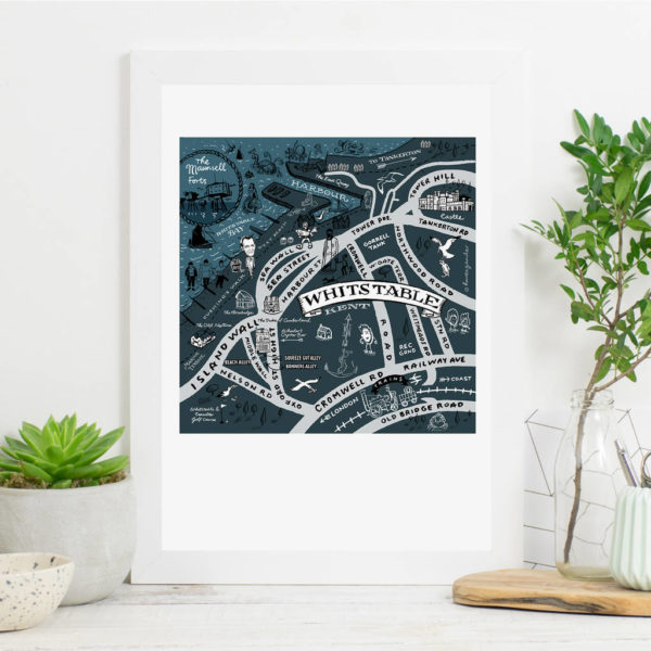 Map Of Whistable Print - White frame