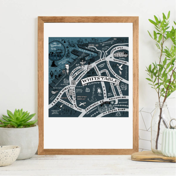 Map Of Whistable Print - Oak frame