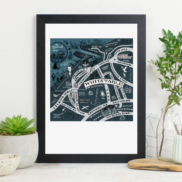 Map Of Whistable Print - Black frame
