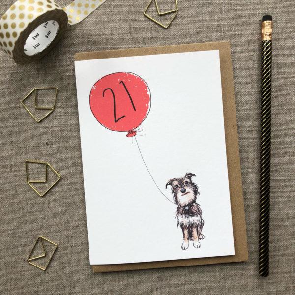 21st Birthday Card Dog
