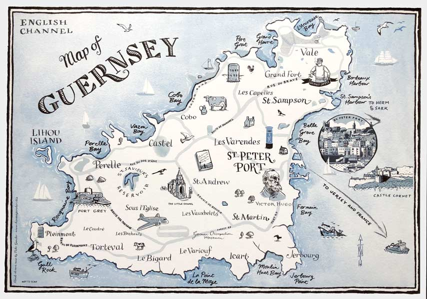 Guernsey Illustrated Map