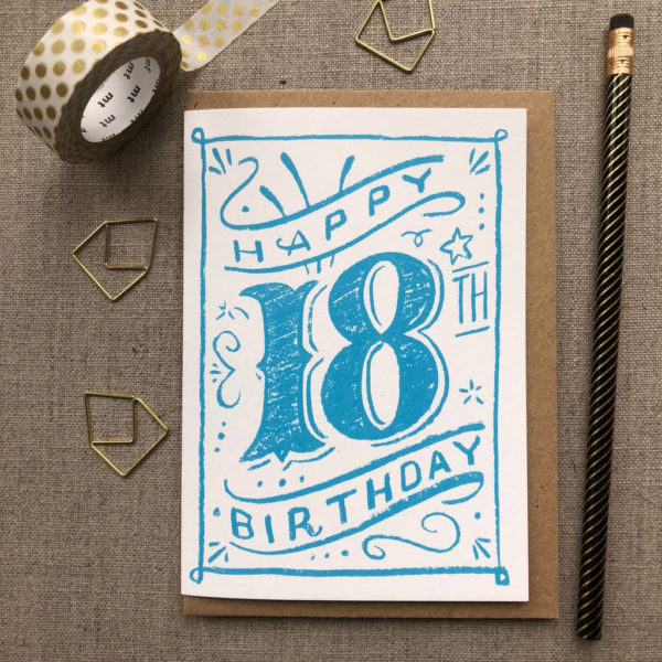 Special Birthday Coloured Chalk Card 18th