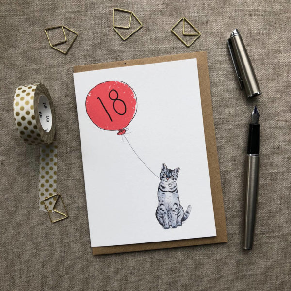18th Birthday Card Cat