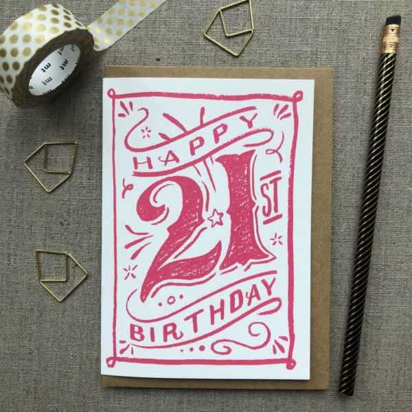 Special Birthday Coloured Chalk Card 21st