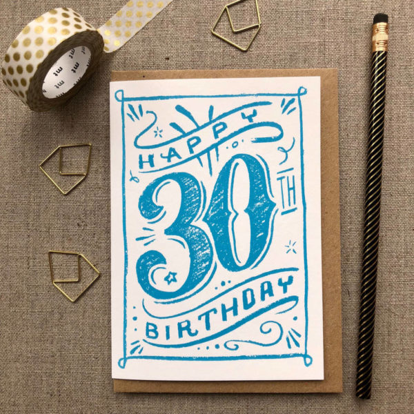 Special Birthday Coloured Chalk Card 30th