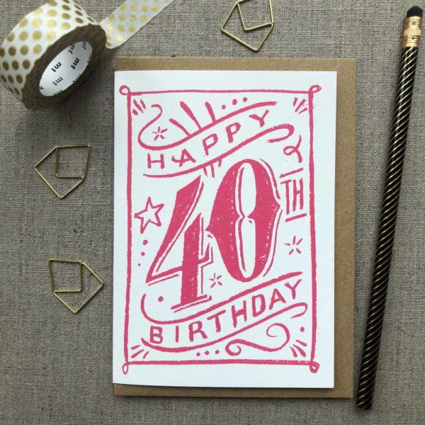 Special Birthday Coloured Chalk Card 40th