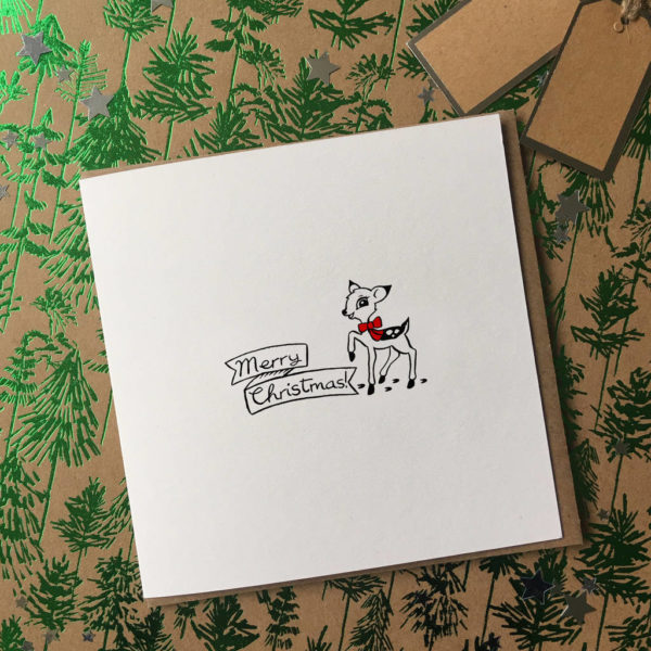 Illustrated Baby Deer Christmas Cards Pack