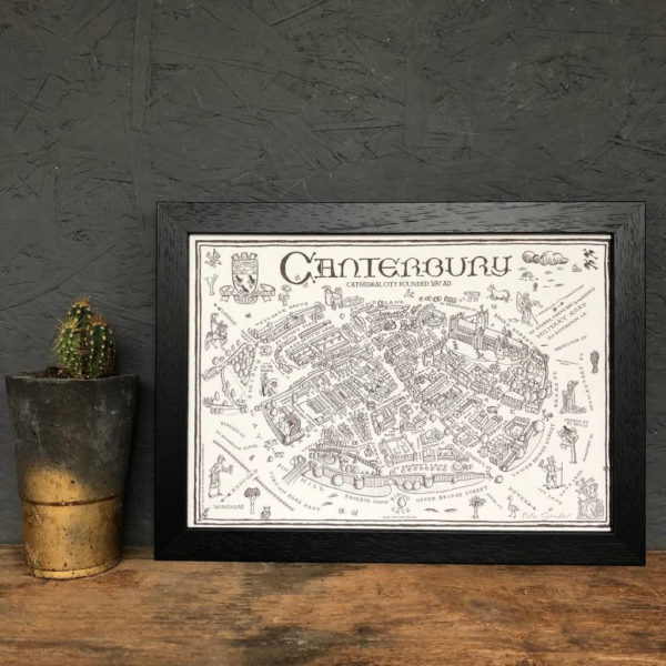 Map Of Canterbury Signed Print