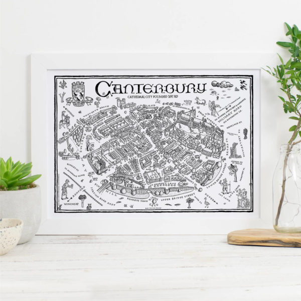 Map Of Canterbury Signed Print - White frame