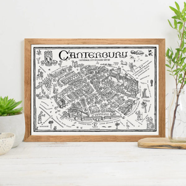 Map Of Canterbury Signed Print - Oak Frame