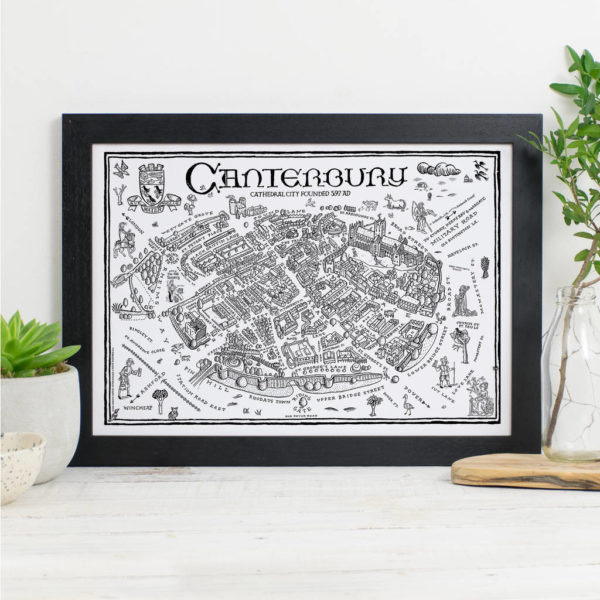 Map Of Canterbury Signed Print - Black frame
