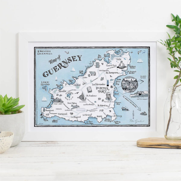 Map Of Guernsey Signed Print - White frame