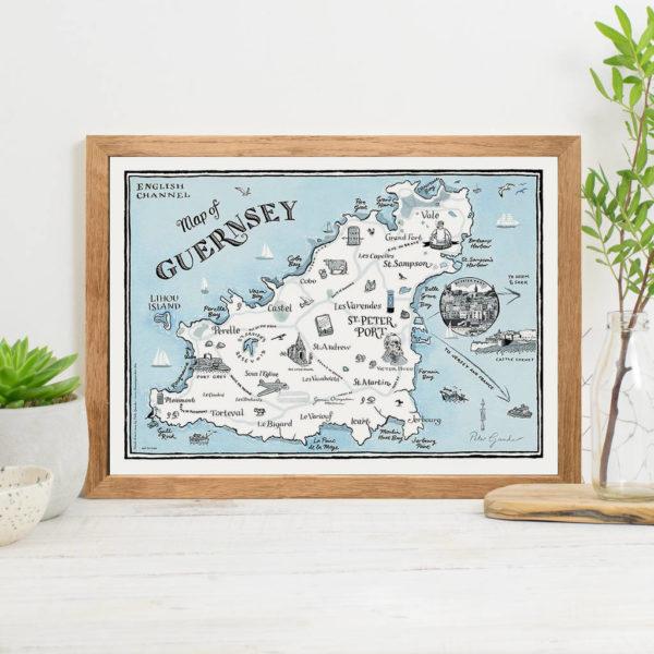 Map Of Guernsey Signed Print - Oak frame