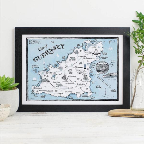 Map Of Guernsey Signed Print - Black frame