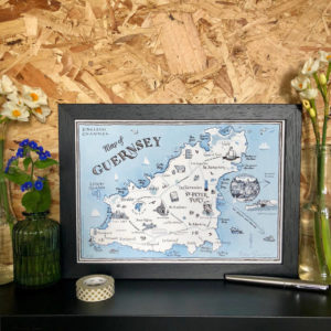 Map Of Guernsey Signed Print