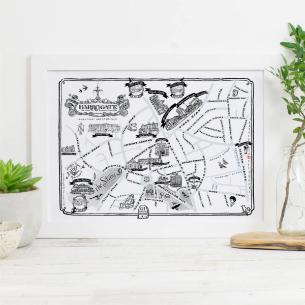 Map Of Harrogate Signed Print - White frame
