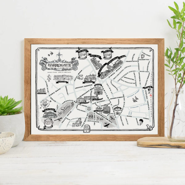 Map Of Harrogate Signed Print - Oak frame