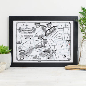 Map Of Harrogate Signed Print - Black frame