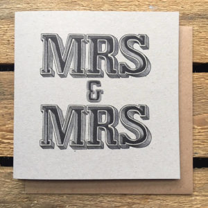Mr And Mr Or Mrs And Mrs Wedding Day Typographic Card