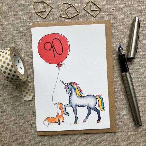 Personalised Unicorn and Unicorn and Fox Balloon Birthday Card age 90