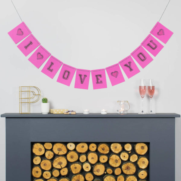 Personalised Bright Pink Valentine's Bunting