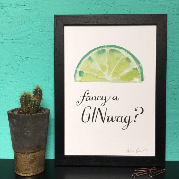 Personalised Fancy A Ginwag Gin Print