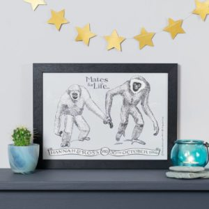 Personalised Gibbon Mates For Life Print