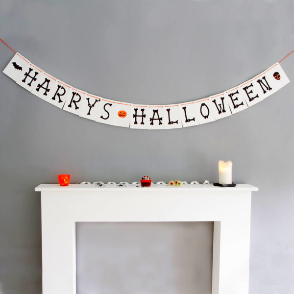 Personalised White Halloween Bunting