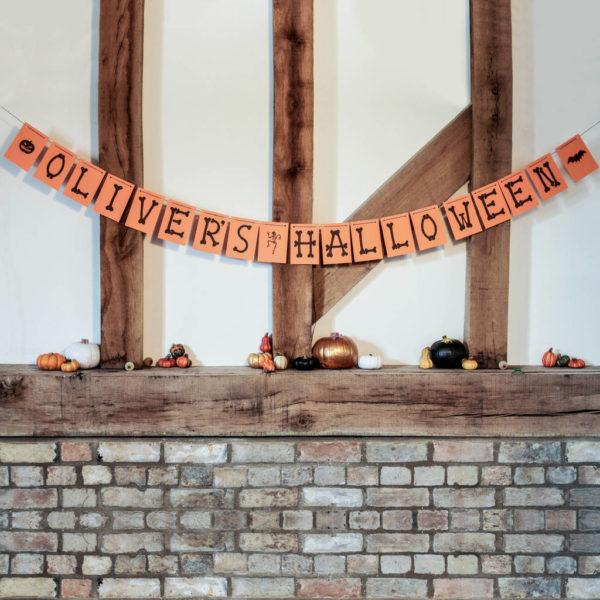 Personalised Orange Halloween Bunting