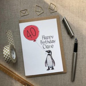 40th Birthday Card Penguin