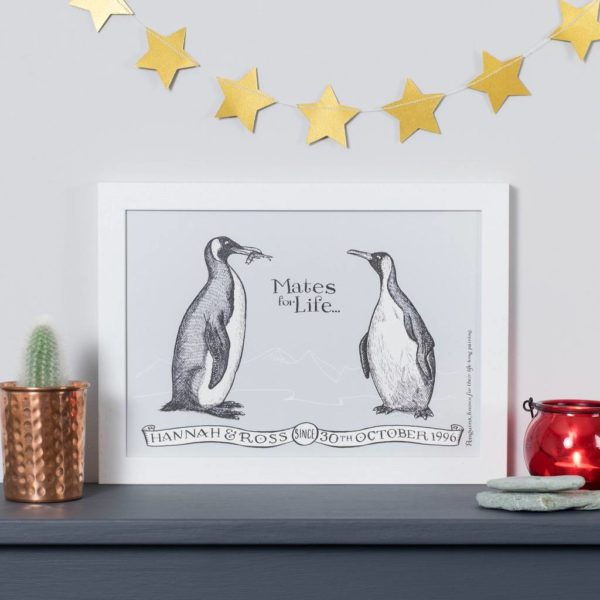 Personalised Penguin Mates For Life Print