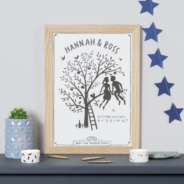 Personalised Sitting In A Tree Kissing Print
