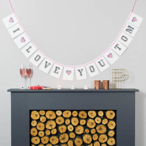 Personalised White Valentine's Bunting