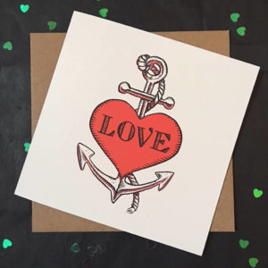 Tattoo Style Heart And Anchor Card