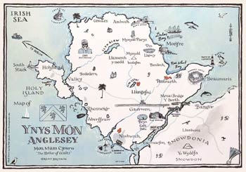 Small Illustrated Map of Anglesey