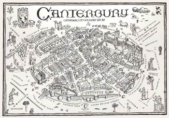 Small Illustrated Map of Canterbury